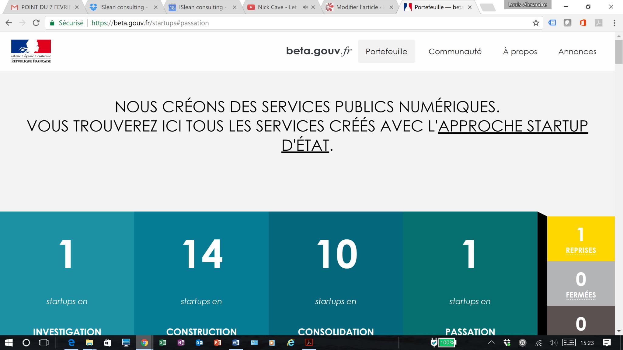 Beta.gouv.fr en janvier 2017 avec le nombre de startup d'Etat par phase
