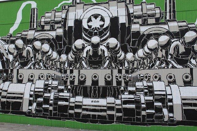 Hommes aliénés par des machines